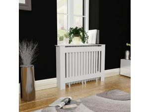 "vidaXL Radiator Cover Heating Cabinet White 44"" Wall Cupboard Shelf MDF Matte"