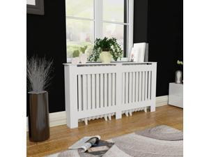 "vidaXL Radiator Cover Heating Cabinet 60"" MDF Matte White Wall Cupboard Shelf"
