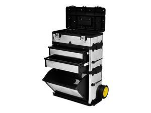 vidaXL 3-Part Rolling Tool Box with 2 Wheels Storage Cabinet Storage Boxes