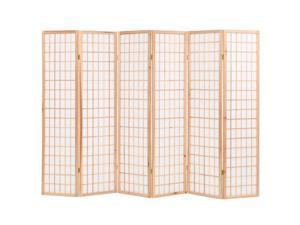 "vidaXL Folding 6-Panel Room Divider Japanese Style 94.5"" Natural Room Screen"
