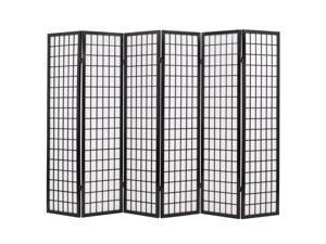 "vidaXL Folding 6-Panel Room Divider Japanese Style 94.5"" Black Dressing Screen"