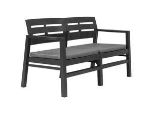 "vidaXL 2-Seater Garden Bench with Cushions 52.4"" Plastic Anthracite Patio Seat"