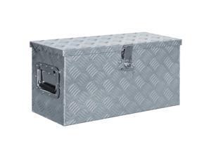 "vidaXL Aluminum Box 21.2""x10.4""x11.8"" Silver Toolbox Trailer Boxes Organiser"