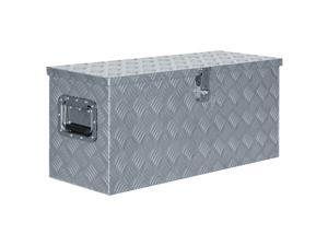 "vidaXL Aluminum Box 31.5""x11.8""x13.8"" Silver Toolbox Trailer Boxes Organiser"