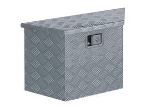 """vidaXL Aluminum Box 27.6""""x9.4""""x16.5"""" Trapezoid Silver Trailer Boxes Organiser"""