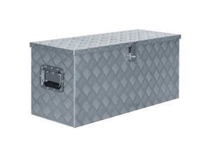 "vidaXL Aluminum Box 35.6""x13.8""x15.7"" Silver Toolbox Trailer Boxes Organiser"