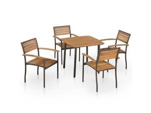 vidaXL 5 Piece Solid Acacia Wood Outdoor Dining Set Steel Table Stacking Chair
