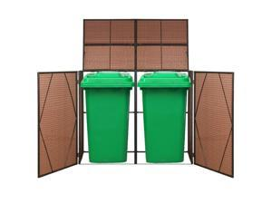 vidaXL Double Wheelie Bin Shed Poly Rattan Brown Garbage Cover Trash Bin Shed