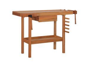 vidaXL Carpentry Work Bench with Drawer 2 Vises Hardwood Work Station Storage