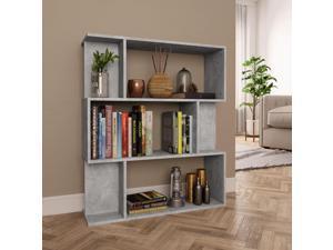 vidaXL Book Cabinet/Room Divider Concrete Gray Chipboard Bookshelf Bookcase