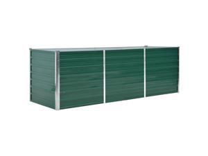 "vidaXL Garden Raised Bed Open Bottom Galvanized Steel 94.5"" Green DIY Planter"