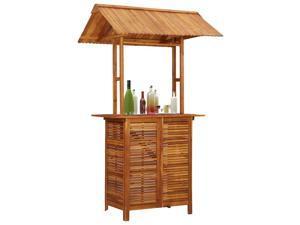 vidaXL Solid Acacia Wood Outdoor Bar Table with Rooftop Garden Patio Bistro