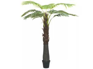 "vidaXL Artificial Palm Tree with Pot 94.5"" Green Fresh Faux Plant Floral Decor"