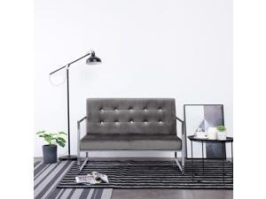 vidaXL 2-Seater Sofa with Armrests Dark Gray Chrome Velvet Furniture Seating
