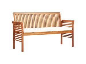 "vidaXL Solid Acacia Wood 3-Seater Garden Bench with Cushion 59"" Slat Outdoor"