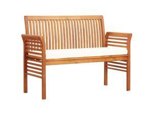 "vidaXL Solid Acacia Wood 2-Seater Garden Bench with Cushion 47.2"" Slat Outdoor"