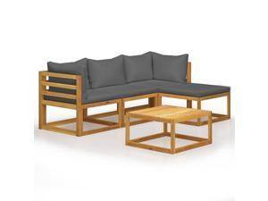 vidaXL Solid Acacia Wood 5 Piece Garden Lounge Set with Cushions Outdoor Sofa
