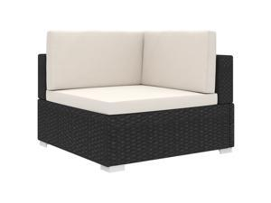 vidaXL Sectional Corner Chair with Cushions Poly Rattan Black Outdoor Chair