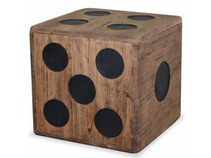 "vidaXL Storage Box Handmade Mindi Wood 15.7"" Dice Design Decor Chest Cabinet"