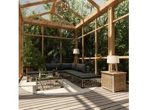 vidaXL 6 Piece Garden Lounge Set with Cushions Poly Rattan Gray Patio Sofa