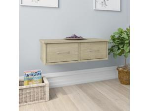 "vidaXL Wall-mounted Drawer Shelf Floating Sonoma Oak 23.6"" Chipboard Console"