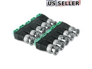 10 pcs BNC Male Coaxial Balun Connector CAT5 Cable Screw Terminal CCTV Video Camera LOT