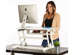 "Standing Desk - the DeskRiser - Height Adjustable Sit Stand Up Dual Monitor Office Computer Desk - Heavy Duty Supports up to 50 Lbs 32"" Wide Desks Converter"