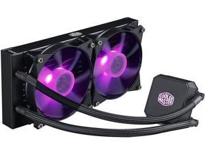 Cooler Master MasterLiquid LC240E RGB Close-Loop AIO CPU Liquid Cooler, 240mm Radiator, Dual Chamber RGB Pump, Dual MF120R RGB Fans w/ RGB Lighting Sync for AMD Ryzen/Intel 1151/2066