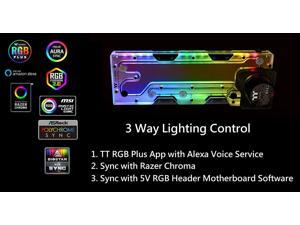 """Thermaltake Pacific DP100-D5 Plus 360mm 200ml 16.8 Million Color RGB Alexa/Razer Chroma/5V Motherboard Syncable 6-Port G 1/4"""" Thread 5-Speed Adjustable D5 Pump Distro Plate Combo CL-W263-PL00SW-A"""