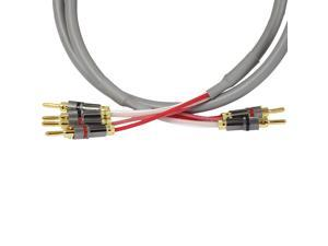 Blue Jeans Cable Canare 4S11 Speaker Cable, with Welded Locking Bananas, Bi-Wire Terminations, 8 foot (single cable -- for one speaker); Assembled in the USA