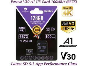 128GB Micro SD Card Plus Adapter Pack 128 GB MicroSD SDXC Class 10 Pro U3 A1 V30 Extreme Speed 100MB/s UHS-I UHS-1 TF XC MicroSDXC Memory Card for Cell Phone Nintendo Galaxy Fire Gopro