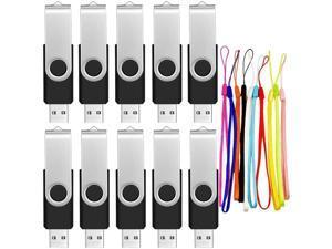 FEBNISCTE USB 2.0 Swivel Flash Drive Memory Stick Pendrive, 128MB, Black, Pack of 10