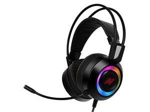 ABKONCORE CH60 True 7.1, Bass Vibration, Gaming Headset for Gaming PC, Gaming Laptop, USB Headset, Noise Cancelling Soft Earmuffs Headphones with Mic, LED Light, Controller