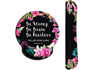 Ergonomic Design Mouse Pad with Wrist Rest Hand Support and Keyboard Support. Round Large Mousing Area. Mouse Pad & Keyboard Pad for Laptop PC Computer & Mac. Desk Accessories with Inspirational Text