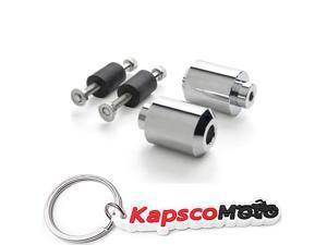 Krator Chrome Spiked Bar Ends Weights Sliders for Suzuki GSXR 600 750 1000 Bandit Hayabusa Chrome Spike Bar Ends Hand Grip Handlebar End Caps KapscoMoto Keychain