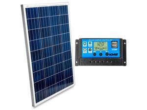 100 Watts 12 Volts Polycrystalline Solar Panel + Charge Controller Combo - Fast Charging, High Efficiency, and Long Lasting - Perfect for Off-Grid Applications, Motorhomes, Vans, Boats, Tiny Homes
