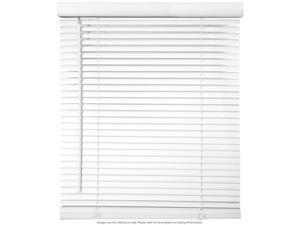 "68"" W x 64"" H Cordless Window Blinds 1"" Slat PVC Vinyl Venetian Horizontal Privacy Shade Anti-UV White"