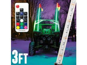 3ft Multi-Color LED Whip Light with Remote Control and American USA Flag - LED Antenna Whip Light for Sand Dune Buggy, ATV, UTV, RZR, Jeep, Trucks, and Other Off-Road Vehicles