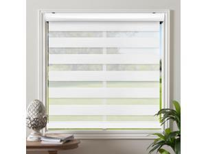 """Cordless Zebra Roller Blinds Sheer Shades / Free-Stop Combi Blinds, Dual Layer, Sheer or Privacy - White, 53""""W X 72""""H"""