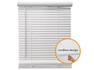 "71"" W x 64"" H Cordless Window Blinds 1"" Slat PVC Vinyl Venetian Horizontal Privacy Shade Anti-UV White"