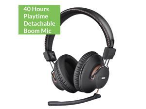 Avantree AS9M Bluetooth Over Ear Headphones with Detachable Boom Mic for Phone Call, Home Office PC Computer, Clear Voice & HiFi Sound Quality, Extra Comfortable & Lightweight, 40H, Wireless & Wired