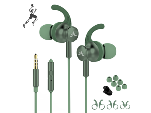 Avantree ME12 Green Sports Earbuds Wired with Microphone, Sweatproof Running Earphones with Earfin, Metal In Ear Headphones for Workout Exercise Gym, Compatible with iPhone iPod Android Cell Phones P