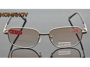 See Near Far Bifocal Reading Glasses Men Women Gold Frame Clear & Brown Lens Spectacles +0.75 TO +4