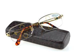 GOLD Progressive Multifocal Reading Glasses Mens Gold See Near Far Ultra Light Alloy Intelligence Add +0.75 To +4