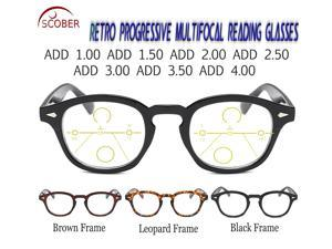 Progressive Multifocal Reading Glasses Classic Retro Vintage Black/Brown Eye frame See Near And Far TOP 0 ADD +0.75 To +4