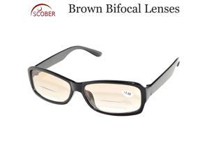TWO PAIRS! Brown bifocal lenses Reading Glasses +0.75 to  +4 see near and far