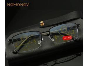 Progressive Multifocal Reading Glasses Half-rim Memory Leg Titanium Alloy Glasses Frame See Near And Far TOP 0 ADD +0.75To +4