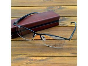 Business Men Half Rim Progressive Photochromic Reading Glasses with PU Case +0.75 to +4 See Near N Far, Indoor N Outdoor