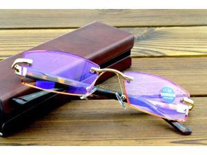 Men Rimless Luxury Brown Lenses with Pu Case High Standard Reading Glasses +1 +1.5 +2 +2.5 +3 +3.5 +4