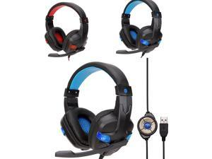 Soft PU Leather Wired LED USB Gaming Headset Headphones with Microphone for PC Dropshipping